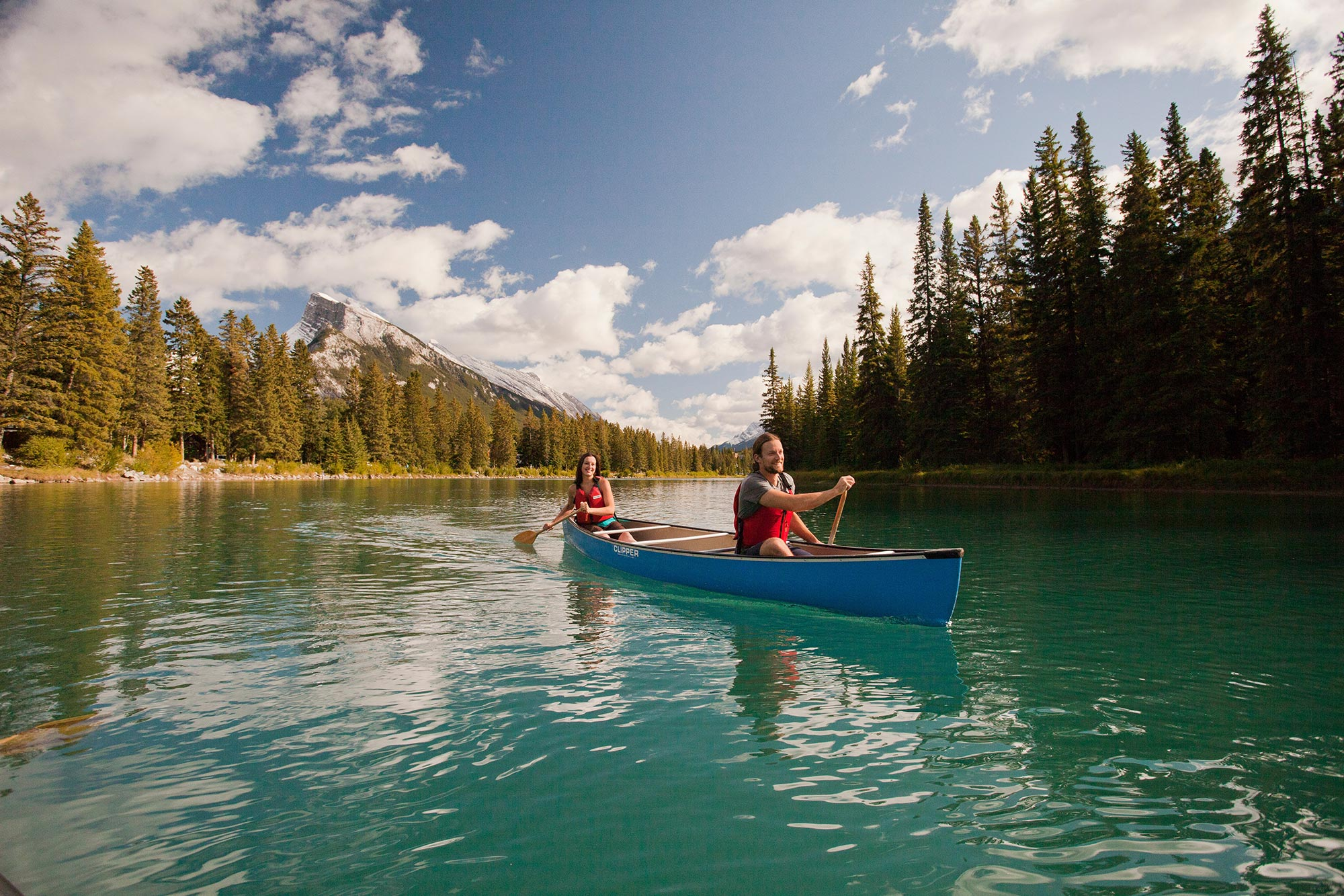 Canoeing over Vermillion Lakes, Banff National Park, AB