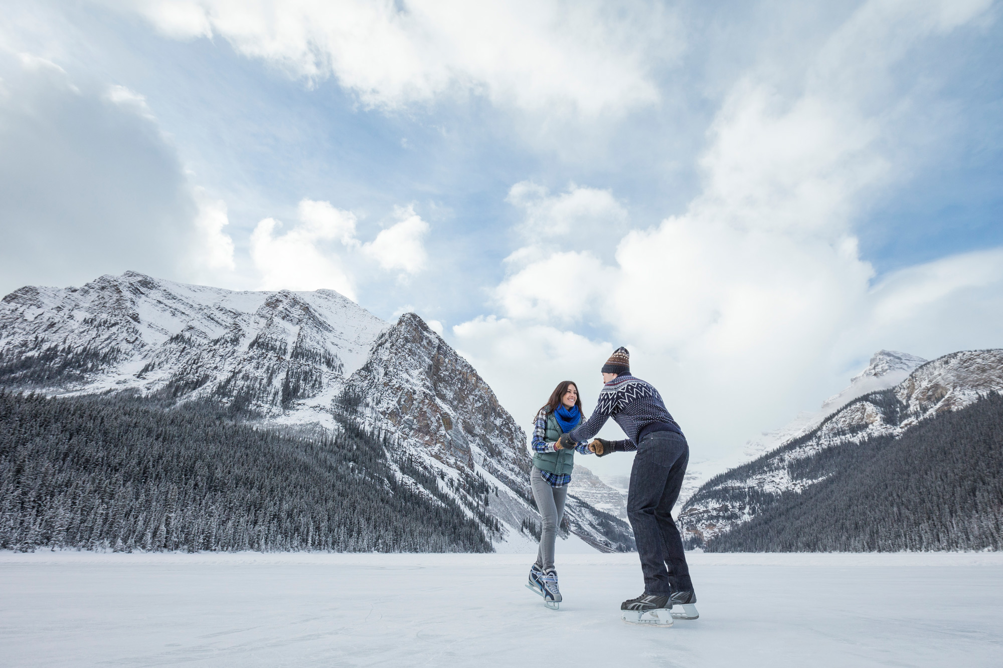 the many lakes in Banff National Park freeze over in winter, providing ice skating for visitors.