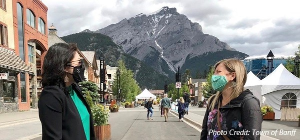 wearing masks on Banff Avenue