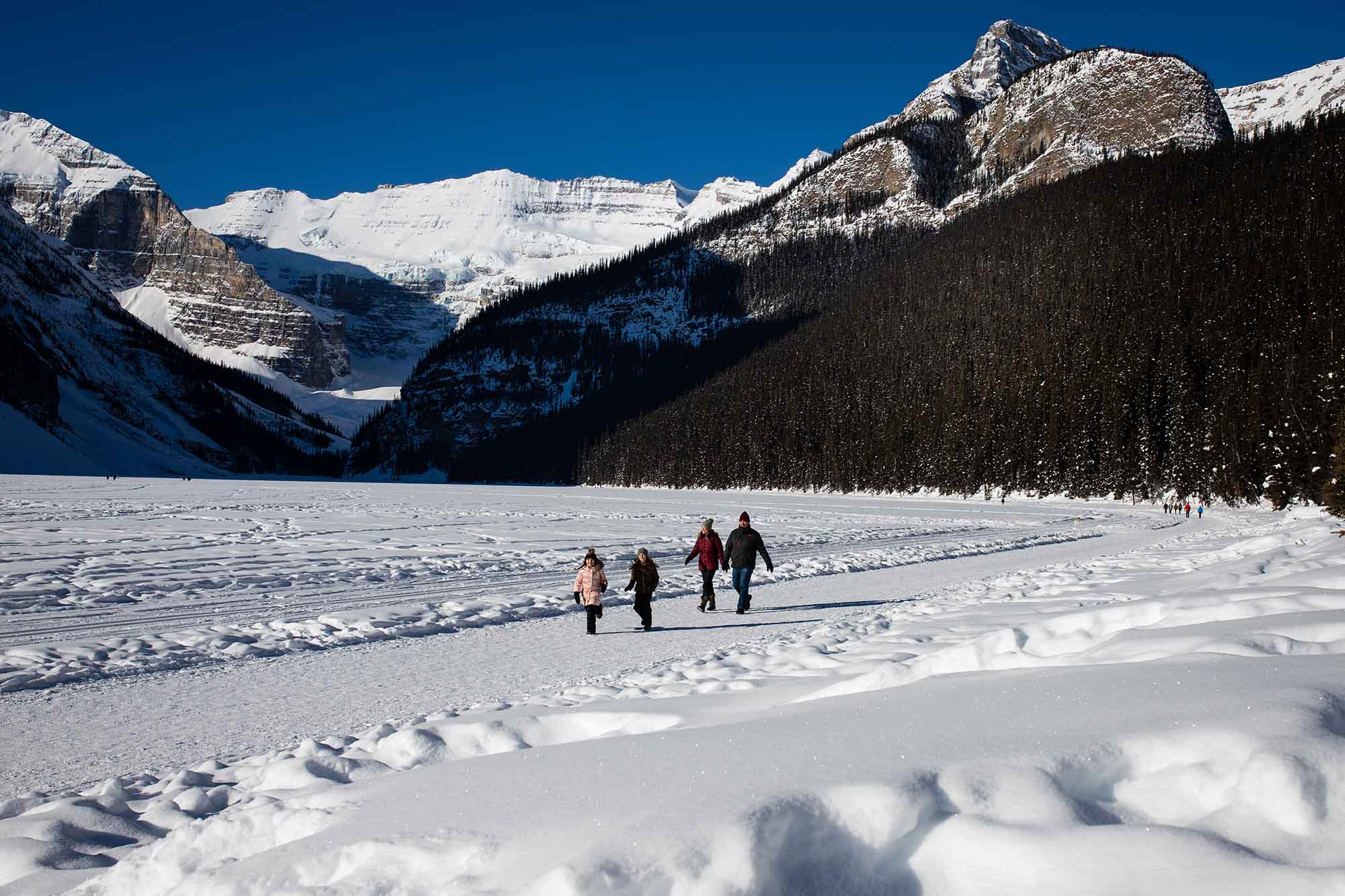 Winter Family Hiking Fun, Lake Louise, Banff National Park