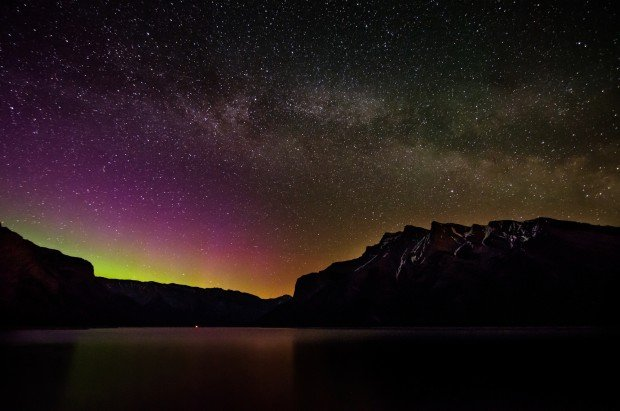 Milky Way , Lights over Minnewanka.  Banff National Park (May 15) Faye Baldock scaled